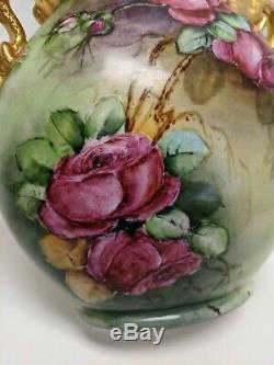 Jpl Jean Pouyat Limoges Main Dragon Peint Poignée Vase À Deux Faces Roses Pansies