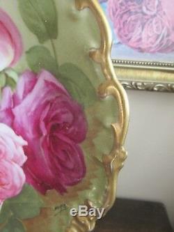 L R L Assiette Chargeur Peint À La Main Limoges France Rose Rouge Rose Dorée Signée Noftys