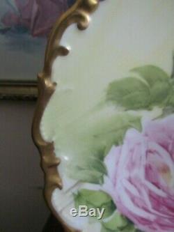 L R L Limoges France Assiette Chargeur Peint À La Main Roses Doré Signé Henrios
