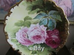 L R L Limoges France Decores Chargeur Plate Roses D'or Signé Henrios