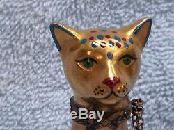 La Main Cat Gold Limoges Peint France Porcelaine Box Trinket Égyptien Noël
