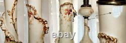 Lampe De Banquet Signée À La Main Limoges Travail Antique Nouveau Brûleur Rochester