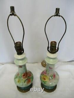 Lampes Vintage De Style Limoges Peintes À La Main Et Signées Floraux Paire De Porcelaine