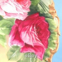 Lazeyras Rosenfeld & Lehman (lrl), Limoges, 12 Chargeurs De Roses Peintes À La Main, Signées