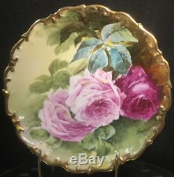 Lazeyras Rosenfeld & Lehman (lrl) Roses Peintes À La Main Avec Chargeur De Limoges 12 Signée