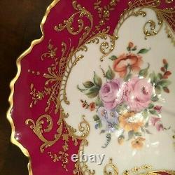 Le Tallec Bowl France Porcelaine Peinte À La Main Limoges Red Bowl Fleurs