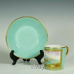 Le Tallec Français Porcelain Cup & Soucoupe Mint & Gold Painted Coastal Scene