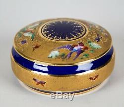 Le Tallec Paris Oiseaux Porcelaine Peinte Boîte Ronde & Couvercle Peint À La Main Bleu Cobalt