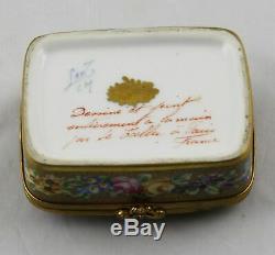 Le Tallec Peint À La Main Limoges Trinket Box 3-1 / 2 X 2-1 / 2 Paris France