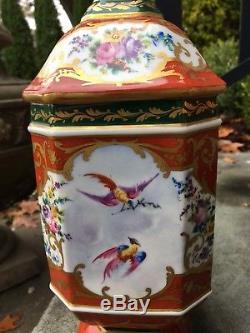 Le Tallec Pot D'apothicaire En Porcelaine Française Peint À La Main D'oiseaux Français 12 De Grand