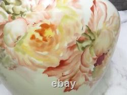Lg Hand Painted Limoges France Jardiniere Pot Purple Pink Peony Flowers Gold Mum
