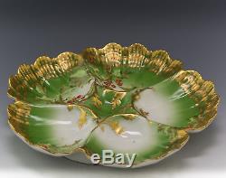 Limes Antiques Assiette D'huîtres Aux Baies De Houx Peintes À La Main