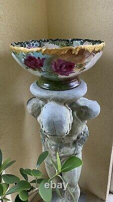Limoge France Peint À La Main Punchbowl Rose, Rouge Et Roses Blanches