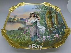 Limoges 1900 Art Nouveau Peint À La Main Artiste Signé Big 13 Erotisme Femme Plaque