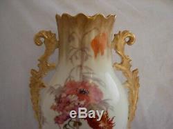 Limoges, Antique Français Peintes À La Main Vase Porcelaine, Début Du 20ème Siècle