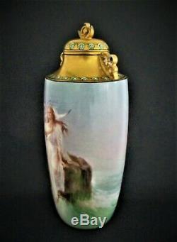Limoges Antique Français Vase Grand Art Nouveau William Guerin Peinte À La Main Signé