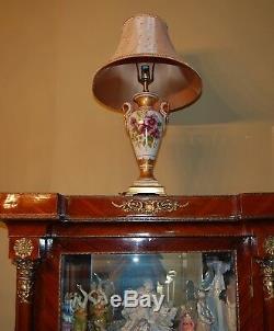 Limoges Antique France Lampe En Porcelaine Peinte À La Main Fleurs Magnifiques