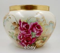 Limoges Antique France Peinte À La Main Porcelaine Jardiniere Vase Roses Hugeee