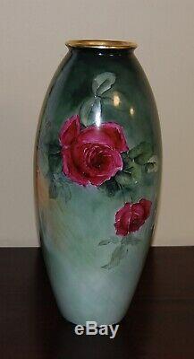 Limoges Antique France Vase En Porcelaine Peinte À La Main Gorgeousroses15