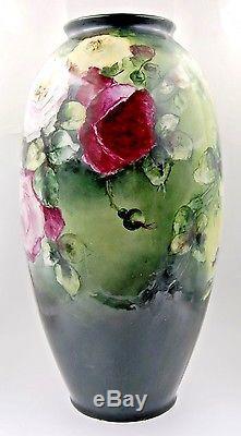 Limoges Antique France Vase En Porcelaine Peinte À La Main Magnifiqueroses21