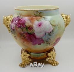 Limoges Antique France Vase Jardiniere En Porcelaine Peinte Roses Hugeee