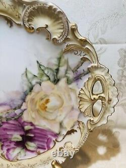 Limoges Antique Handpainted Cake Plate Pink Roses, Gold Trim, A. Lanternier, 11 3/4