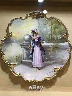 Limoges Antique Victorienne Main Plaque Peinte, Ombre Boîte En Bois Doré
