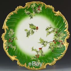 Limoges Antiques Assiette Aux Baies De Houx Peinte À La Main