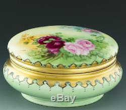 Limoges Antiques Boîte À Bocal En Poudre Avec Roses Peintes À La Main
