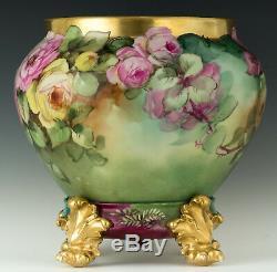 Limoges Antiques Roses Peintes À La Main Jardinière Vase & Socle
