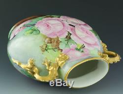 Limoges Antiquités Peint À La Main Roses Dragon Poignées Vase