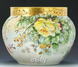 Limoges Antiquités Peint À La Main Roses Jardinière Ferner Vase