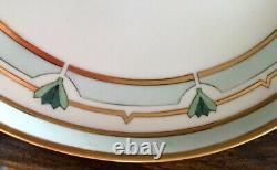 Limoges Art Deco Hand-painted Coffee/chocolate Set Avec Tray 1925 Daté, Signé
