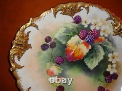 Limoges B&h Assiette De Service À Gâteau Peint À La Main, Baies, Signé Marsay, 11