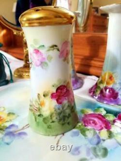 Limoges Bavière Peint À La Main Rose Commode Vanity Set