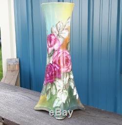 Limoges Belle Grand Vase 15 Roses Peint À La Main