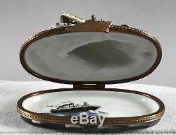 Limoges Box Naufrage Du Titanic Trinket Paquebot Peint À La Main Signe 558