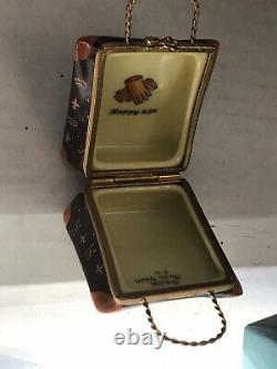 Limoges CL Designer Louis Français Logo Kelly Handbagfleur Lishand Painted Box