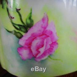 Limoges Cachepot Vase-roses Peintes À La Main - Pieds Dorés - Artiste Signé