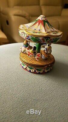 Limoges Carrousel Ou Merry-go-round Box Trinket France Porcelaine Peinte À La Main