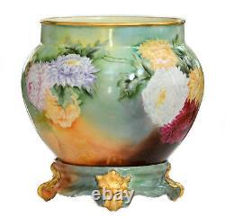 Limoges Chrysanthèmes Peints À La Main Jardiniere Vase Sur Plinthe / Base Correspondant