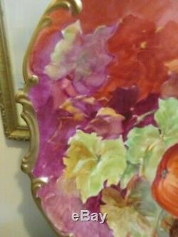 Limoges Coronet France Chargeur Decores Fruit Plate Signé Duval 16