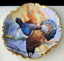 Limoges Coronet Plaque Peinte À La Main Oiseau Jeu Signé Duval France