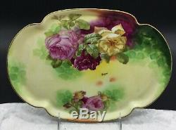 Limoges Coronet Rancon Grand Roses Vanity Trinket Plateau Main Plaque Plat Painted