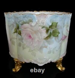 Limoges Delinieres & Co Hand Peint Par Sherratt Français Vase Pot En Porcelaine