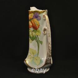Limoges Elite Bawo Dotter 10.5 Pichet Peint À La Main Blackberries Gold 1900-1914
