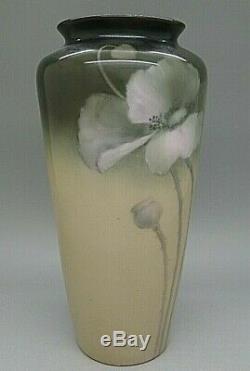 Limoges Française Finest Peinte À La Main Art Nouveau Poppy Vase C. 1901 Rare Magnifique