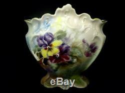 Limoges France Antique Peint À La Main Pastel Aquarelle Fleurs Vase Floral