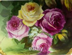 Limoges France Antiquités Main Roses Peint Gâteau Chargeur De Plaque
