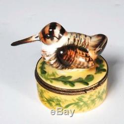 Limoges France Chamart Peint À La Main Woodcock Long Bec D'oiseau Trinket Box
